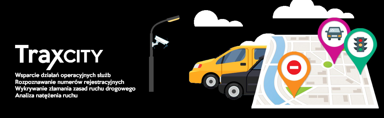 Rysunek przedstawiający samochody i mapę. Obok napis TraxCity